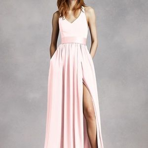 White by Vera Wang- V Neck Halter Gown in Petal